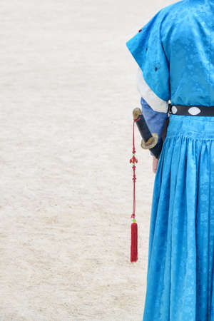 Royal guard wearing blue Jeonbok at courtyard of Gyeongbokgung Palace in Seoul, South Korea. Korean traditional military clothing.