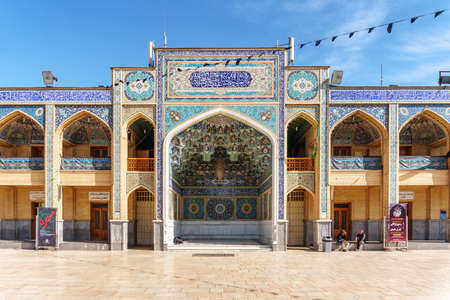 Shiraz, Iran - 29 October, 2018: View of the Shah Cheragh Mosque and Mausoleum from courtyard. Amazing Islamic architecture. Gorgeous Persian exterior of the Muslim place. Publikacyjne