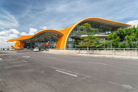 Dalat, Vietnam - October 13, 2018: Facade of Lien Khuong International Airport. Yellow building of Da Lat Airport on blue sky background. Stock Photo - 125815712
