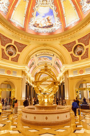 Macau - October 17, 2017: Wonderful fountain in lobby of the Venetian Macao. It is a luxury hotel, the famous shopping mall and the largest casino in the world. Beautiful interior.