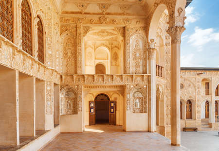 Kashan, Iran - 21 October, 2018: Fabulous interior of Mirror Hall at Tabatabaei Historical House. Wonderful Persian architecture. Kashan is a popular tourist destination of the Middle East.