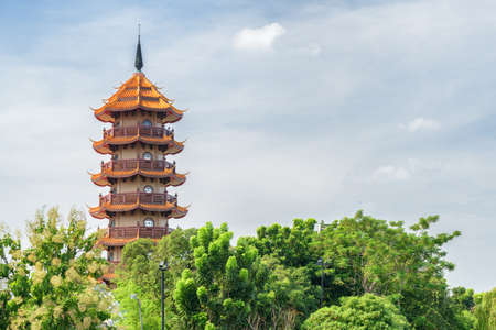 Scenic view of Chinese-style pagoda at Chee Chin Khor Buddhist Temple in Bangkok, Thailand. Bangkok is a popular tourist destination of Asia.