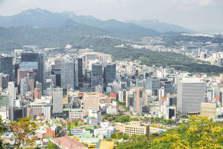 Seoul, South Korea - October 8, 2017: Wonderful view of the city from Namsan Mountain. Amazing cityscape. Seoul is a popular tourist destination of Asia. Publikacyjne