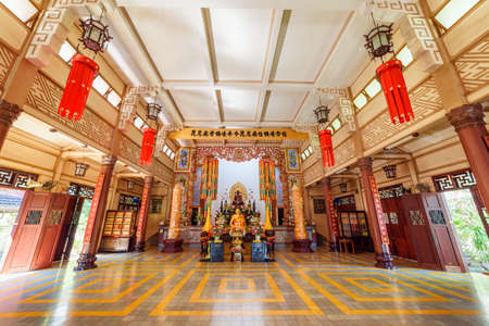 Nha Trang, Vietnam - April 9, 2015: Amazing inside view of Long Son Pagoda in Khanh Hoa province. Awesome interior of Buddhist temple. Nha Trang city is a popular tourist destination of Asia.