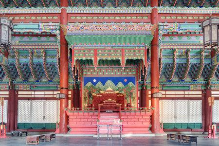Seoul, South Korea - October 9, 2017: Wonderful Geunjeongjeon Throne Hall at Gyeongbokgung Palace. Seoul is a popular tourist destination of Asia.