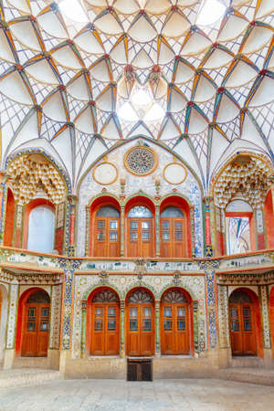 Kashan, Iran - 21 October, 2018: Fabulous interior of the Borujerdi Historical House. Wonderful Persian architecture. Kashan is a popular tourist destination of the Middle East. Publikacyjne