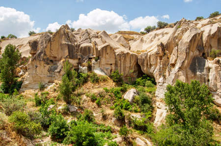 Awesome view of scenic rocks in Goreme National Park at Cappadocia, Turkey. Amazing landscape. Cappadocia is a popular tourist destination of Turkey.