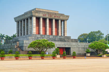 Awesome view of the Chairman Ho Chi Minh Mausoleum in the Ba Dinh Square, Hanoi, Vietnam. The mausoleum is a popular tourist destination of Asia.