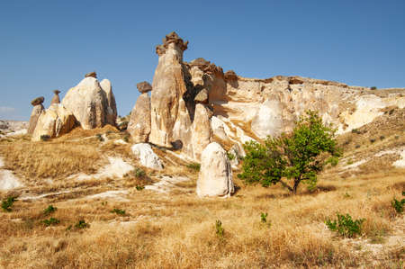 Amazing view of Fairy Chimney Rock Formations in Goreme National Park at Cappadocia, Turkey. Awesome landscape. Cappadocia is a popular tourist destination of Turkey. Zdjęcie Seryjne