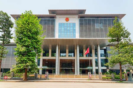 Hanoi, Vietnam - April 19, 2019: Awesome view of Office of the National Assembly of Vietnam. Hanoi is a popular tourist destination of Asia. Editorial