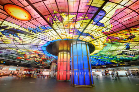 Kaohsiung, Taiwan - May 1, 2019: Scenic colorful interior view of the Formosa Boulevard Station of the Kaohsiung MRT system at downtown. The Dome of Light is the largest glass work in the world.