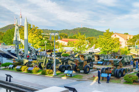 Seoul, South Korea - October 14, 2017: Awesome view of military equipment at outdoor exhibition area of the War Memorial of Korea. The museum is a popular tourist attraction of Asia.