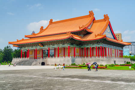 Colorful view of the National Concert Hall at Liberty Square in Taipei, Taiwan. The square is a popular tourist destination of Asia.