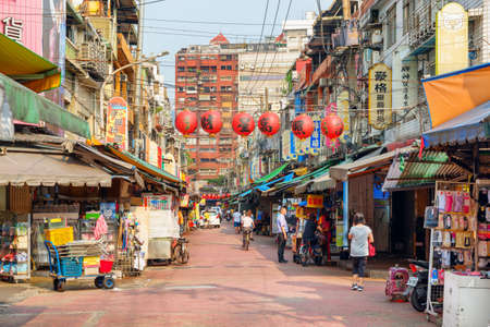 Taipei, Taiwan - April 23, 2019: Awesome view of market street at old quarter of Taipei. Scenic cityscape. Taiwan is a popular tourist destination of Asia.