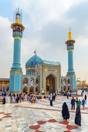 Tehran, Iran - 18 October, 2018: Fabulous colorful view of Imamzadeh Saleh at Shemiran district. The mosque is a popular Shia shrine in northern Tehran. Scenic courtyard of the Muslim place.