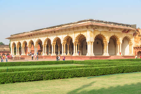 Agra, India - 9 November, 2018: Wonderful view of the Diwan-i-Am (Hall of Audience) at the Agra Fort. Awesome Mughal architecture. The fort is a popular tourist attraction of South Asia.