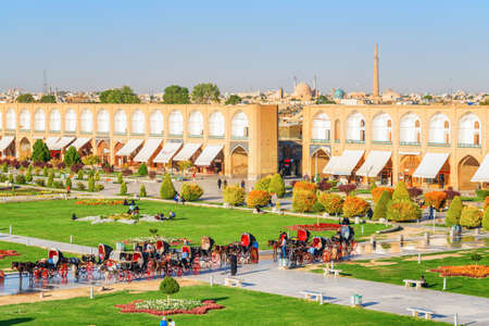 Isfahan, Iran - 23 October, 2018: Amazing view of Naqsh-e Jahan Square. The square is a popular tourist destination of the Middle East and recreational gathering place among residents.