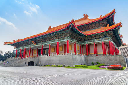 Beautiful view of the National Theater at Liberty Square in Taipei, Taiwan. The square is a popular tourist destination of Asia.