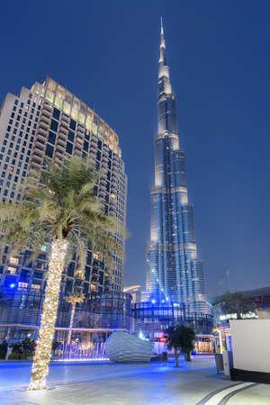 Dubai, United Arab Emirates - 2 November, 2018: Amazing evening view of the iconic Burj Khalifa Tower at downtown. Awesome cityscape. Dubai is a popular tourist destination of UAE. Publikacyjne