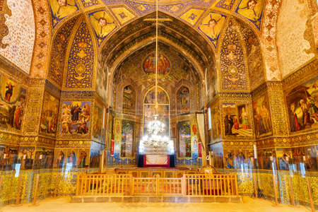 Isfahan, Iran - 24 October, 2018: Amazing interior view of prayer hall at the Bedkhem Church in the New Julfa district. Awesome frescos of the Armenian Apostolic Church.