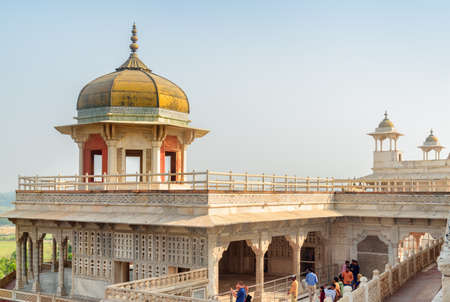 Agra, India - 9 November, 2018: View of the Musamman Burj in the Agra Fort. The octagonal tower with dome is a popular tourist attraction of South Asia. Awesome Mughal architecture.