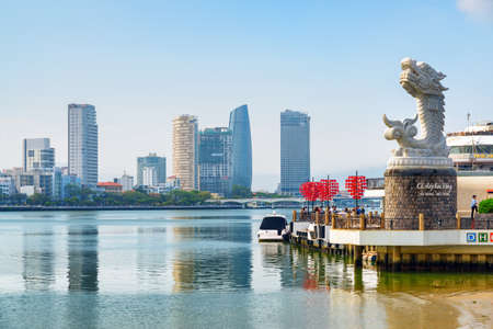 Da Nang (Danang), Vietnam - April 15, 2018: Scenic view of the Han River and DHC Marina. Skyscrapers reflected in water. DHC Marina is a popular romantic place among residents and tourists. Publikacyjne