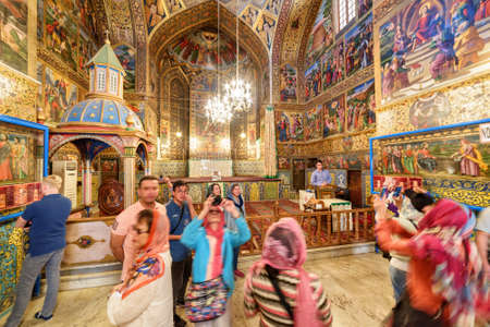 Isfahan, Iran - 24 October, 2018: Tourists taking pictures inside the Holy Savior Cathedral (Vank Cathedral). The Armenian Apostolic Church is a popular tourist attraction of the Middle East. Publikacyjne