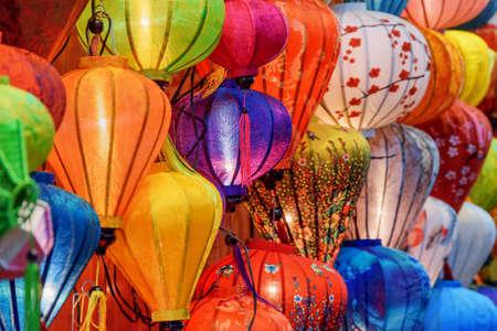 Hoi An (Hoian), Vietnam - April 11, 2018: Gorgeous view of traditional colorful silk lanterns in souvenir shop at Hoi An Ancient Town. Hoian is a popular tourist destination of Asia.