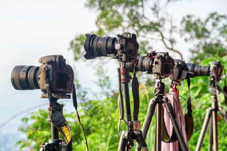 Taipei, Taiwan - April 25, 2019: Unusual view of row of professional cameras on tripods among green trees. Scenic spot for photo. Photographers taking pictures. Focus on the second camera. 스톡 콘텐츠