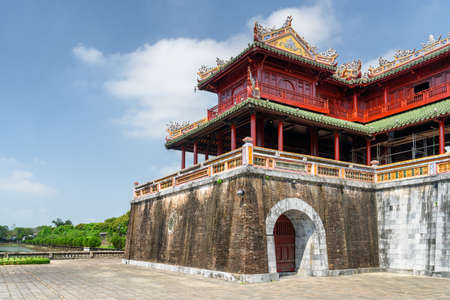 Scenic view of the Meridian Gate to the Imperial City with the Purple Forbidden City within the Citadel in Hue, Vietnam. Hue is a popular tourist destination of Asia. Editorial