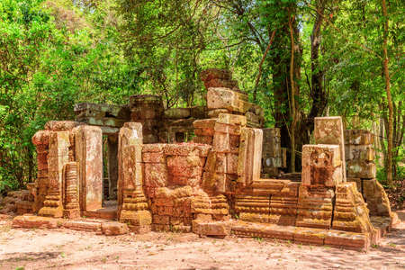 Awesome view of scenic ruins of Ta Prohm temple among green woods in Angkor, Siem Reap, Cambodia. Ta Prohm temple is a popular tourist attraction of Asia. Stok Fotoğraf