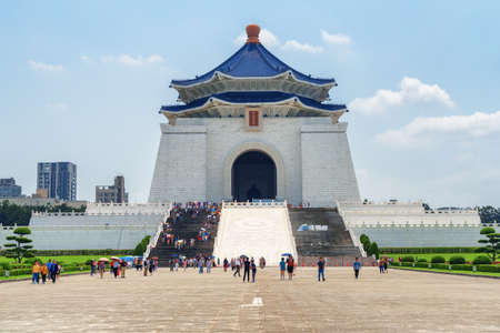 Taipei, Taiwan - April 23, 2019: Main view of the National Chiang Kai-shek Memorial Hall at Liberty Square. The memorial hall is a famous national monument and popular tourist attraction of Asia.