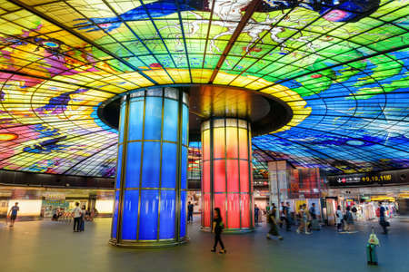 Kaohsiung, Taiwan - May 1, 2019: Colorful interior view of the Formosa Boulevard Station of the Kaohsiung MRT system at downtown. The Dome of Light is the largest glass work in the world.