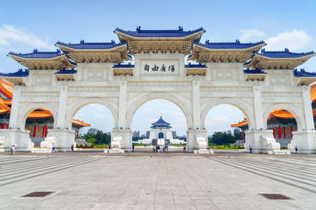 Beautiful view of the Gate of Great Piety at Liberty Square, Taipei, Taiwan. The National Chiang Kai-shek Memorial Hall is visible through the gate. The square is a popular tourist destination of Asia