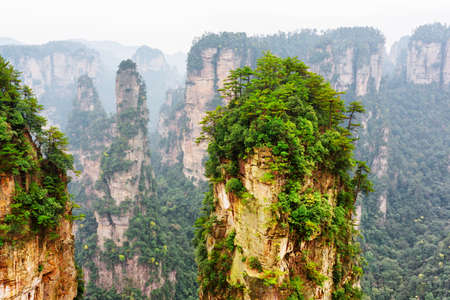 Fantastic natural quartz sandstone pillar named the Avatar Hallelujah Mountain and other wooded rocks in the Tianzi Mountains, the Zhangjiajie National Forest Park, Hunan Province, China.