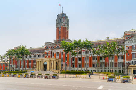 Taipei, Taiwan - April 23, 2019: Wonderful view of the Presidential Office Building and Chongqing South Road. The Baroque-style building is a symbol of the Government of Taiwan. Awesome cityscape. Editorial
