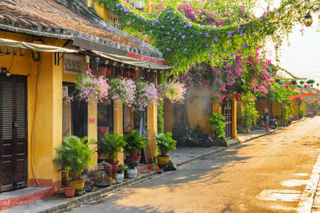 Hoi An (Hoian), Vietnam - April 12, 2018: Morning view of cozy street decorated with flowers. Scenic traditional old yellow houses. Hoi An Ancient Town is a popular tourist destination of Asia.
