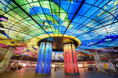 Kaohsiung, Taiwan - May 1, 2019: Interior view of the Formosa Boulevard Station of the Kaohsiung MRT system at downtown. The Dome of Light is the largest glass work in the world.