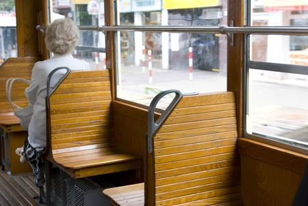 tramcar: old tramcar travel with memory Stock Photo