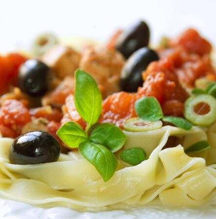 tagliatelle with olives Stock Photo - 4765373