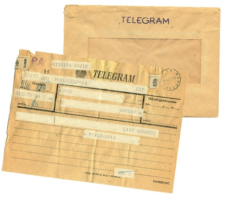 telegram: vintage telegram poland Stock Photo