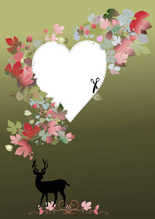 deer in heart: valentine cutout with heart shape and deer Illustration