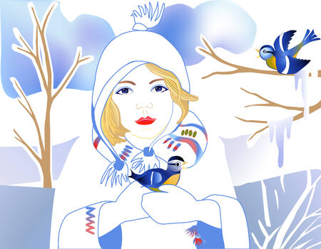 tit: girl with bird blue tit in hands in winter time Illustration