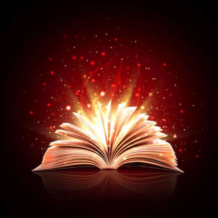 Magisches Buch mit magischen Lichtern Standard-Bild
