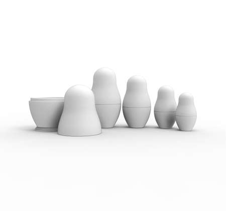 unpainted: Set of unpainted Russian Dolls on white