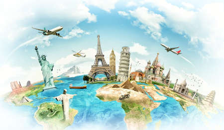world map blue: Travel the world monument concept Stock Photo