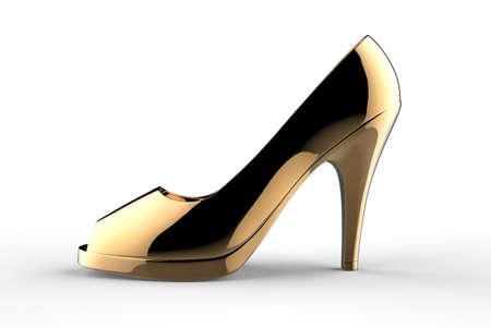 stiletto: gold woman shoe