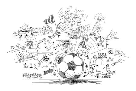サッカー落書き 写真素材