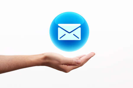 Email icon on hand photo