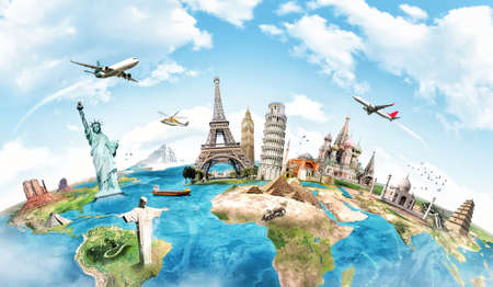 maps globes: Travel the world monument concept Stock Photo